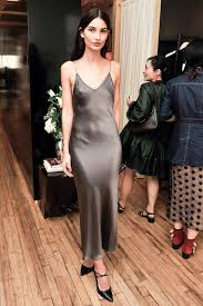 metal necklace dress images Le fashion a model approved way to wear a silk slip dress to a party jpg
