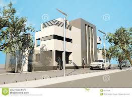 3d modern house render in 3ds max on white backg royalty free