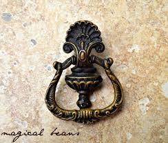 vintage petite baroque door knocker style pull in solid brass