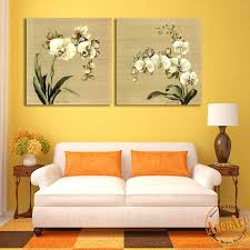 living room canvas 2 panel butterfly orchid white flower painting picture for living