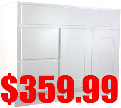 Unassembled Bathroom Vanities by White Shaker 42 Inch Bathroom Vanity Cabinet With Left Drawers
