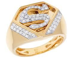 superman wedding ring mens 10k yellow gold genuine diamond superman logo shield