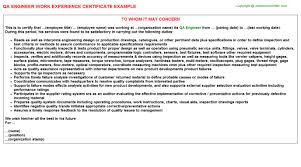 Certification Of Employment Letter Exle Qa Engineer Work Experience Letters