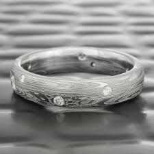 damascus steel wedding band tidepools scattered diamond damascus domed wedding ring steven