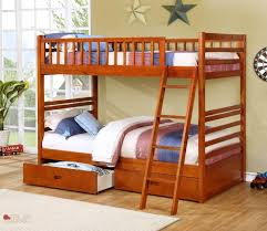 Oak Twin Over Twin Bunk Bed - Solid wood bunk beds