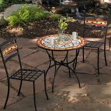 Bistro Patio Table And Chairs Coral Coast Terra Cotta Mosaic Bistro Set Hayneedle Coral Coast