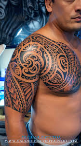 Chest And Half Sleeve - swirly polynesian chest and half sleeve