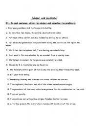 english worksheets subject and predicate worksheets page 2