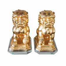 gold foo dogs gold foo dogs on lucite base a pair chairish