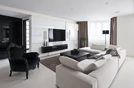 living room modern designs ideas white bricks walls sofa black