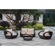 Dark Brown Wicker Patio Furniture by Raki Dark Brown Wicker 4 Piece Conversation Set Outdoor