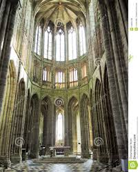 Mont Saint Michel Interior Nave Of Church In Abbey Mont Saint Michel Editorial Stock Image