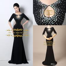 model dress 100 real model black mermaid evening dress chiffon 2015 crew neck