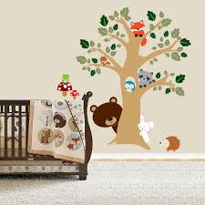 Nursery Stickers Forest Friends Room Peek A Boo Tree Woodland Animals Decal