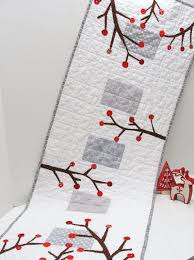 holiday table runner quilted runner in white and gray with red