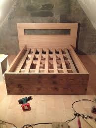 Reclaimed Wood Double Bed Frame Diy Bed Frame All Made From Recycled Materials Doors Pallets