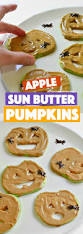 sun butter and apple jack o lanterns fork and beans