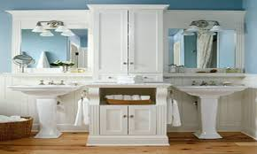 bathroom mirror with storage master bathroom with pedestal sinks
