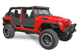 red jeep wrangler unlimited dv8 offroad rdsttb 01 plated rock doors for 07 17 jeep wrangler
