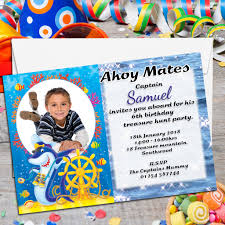 10 personalised pirate shark party photo invitations n37