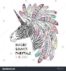 aztec zebra unicorn summer art print stock vector 397213531