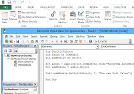use excel vba macros and com add in in one solution c and vba
