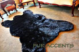 amazon com fur accents classic black bear skin area rug faux fur