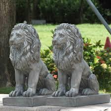 lion statue sitting lion statue 2 pack