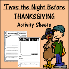 twas the before thanksgiving activity sheets
