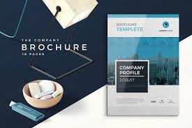 blue company profile 16 pages brochure templates creative market