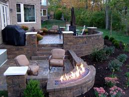 Backyard Brick Patio Design With Grill Station Seating Wall And by Best 25 Raised Patio Ideas On Pinterest Patio Redo Ideas