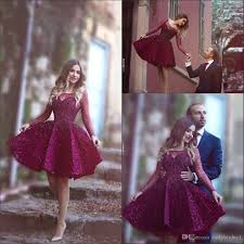 2016 burgundy short cocktail dresses sheer long sleeve with beads