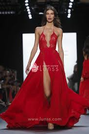 red lace and chiffon high neck sleeveless slit floor length prom