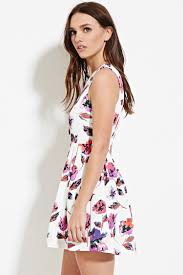 fit and flare dress forever 21 forever 21 floral fit flare dress in white lyst