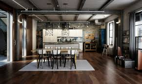 industrial modern kitchen interior industrial kitchen integrated with dining space