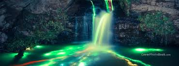 beautiful neon waterfall lights cover places