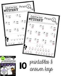 digit math math mystery phrases without regrouping 2 3 digit tpt