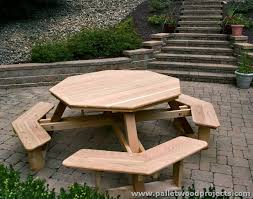 Picnic Table With Benches Pallet Picnic Table And Benches Pallet Wood Projects