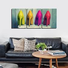 canvas prints wall art paintings color high heeled shoes for women bedroom wall art decor