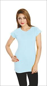 light sky blue color womens 100 cotton round neck light sky blue color casual plain t