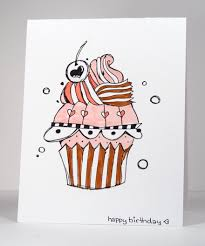 hand drawn birthday cupcake heather telford