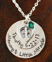 Baby Personalized Jewelry Mommys Little Miracle Baby Feet Personalized Necklace At Sweet