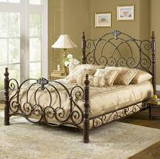 Metal Vintage Bed Frame Iron Bed Vintage Spice Finish Classic Scroll Work