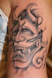 perfect mask tattoo of hannya on bicep tattooshunter com