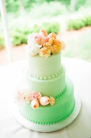 peach ombre wedding cake mint ombre wedding cake with peach flowers
