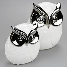 set of 2 large small white silver owl ornaments co uk