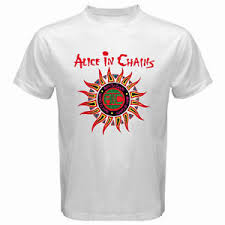 in chains sun logo grunge rock band s white t shirt