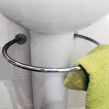 pedestal sink towel bar loop chromed steel circular under sink towel rail silver amazon
