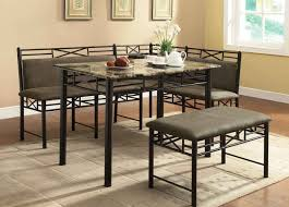 furniture dining nook table with black iron l shape bench with