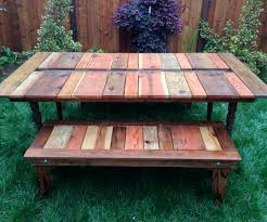Wooden Outdoor Table Diy by Reclaimed Wood Flat Pack Picnic Table With Planter Ice Trough